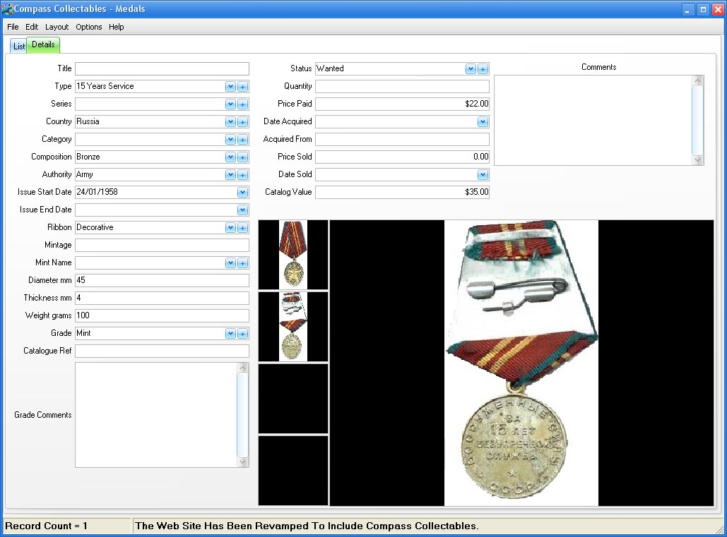 Very Functional and easy to use Medal collecting software