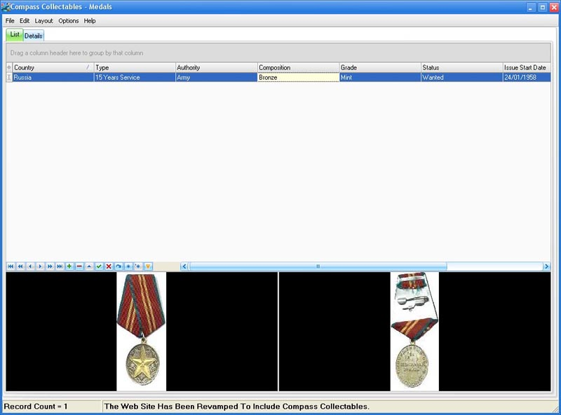 Compass Collectables Medals Screen shot