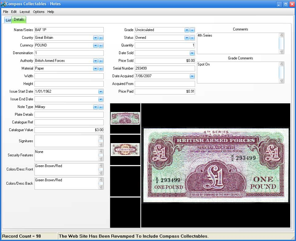 Form View Image for Bank Notes