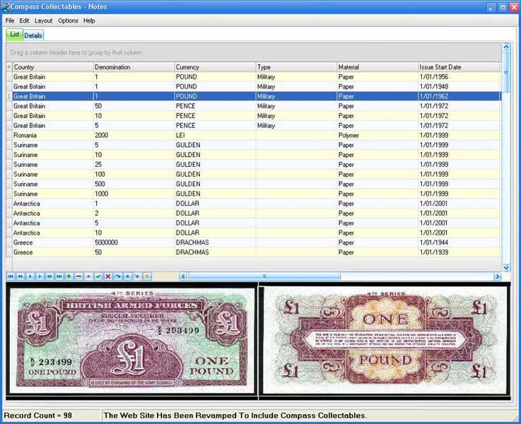 Compass Collectables Banknotes Screen shot